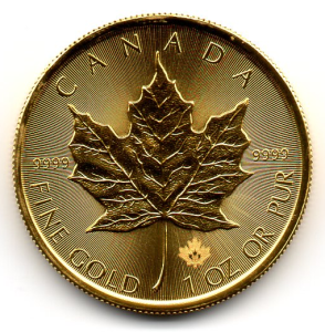 Canadian Gold Maple Leaf. 1 troy ounce. Reverse. Photo by Basketbread
